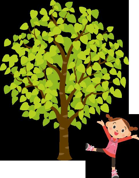 女の子が大きな木の下で運動しているのイラスト