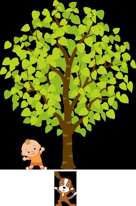 赤ちゃんが大きな木の下で犬と一緒に運動しているのイラスト