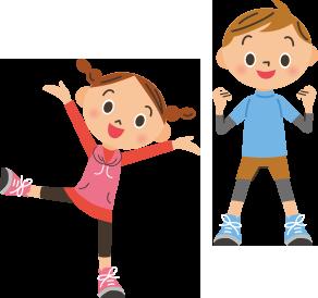 体操をしている子供のイラスト