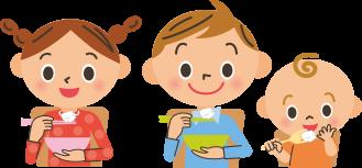 ご飯を食べている子供のイラスト